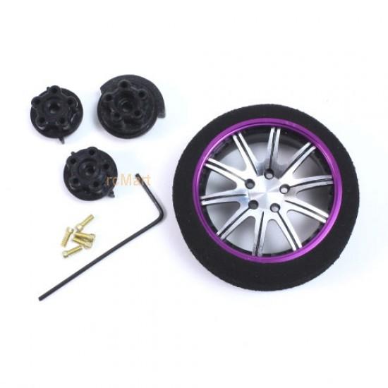 Aluminum 10-Spoke Transmitter Steering Wheel Purple For Futaba KO Sanwa Flysky NB4