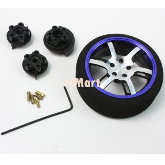 Aluminum 6-Spoke Transmitter Steering Wheel Dark Blue For Futaba KO Sanwa Flysky NB4