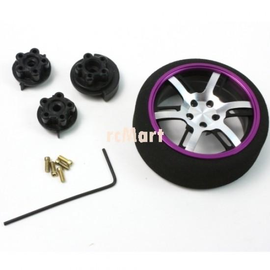 Aluminum 6-Spoke Transmitter Steering Wheel Purple For Futaba KO Sanwa Flysky NB4