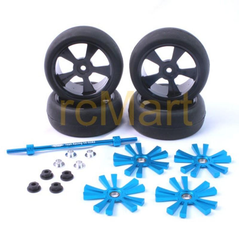 Aluminum Stylish Spinning Rims (4pcs) BU 5V-Spoke Tire Set w/Free Tire Holder for 1:10 touring cars