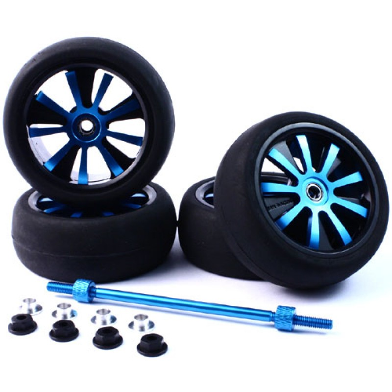 Aluminum Spinning Rims (4pcs) BU 9-Spoke Tire Set w/Free Tire Holder for 1:10 Touring Cars