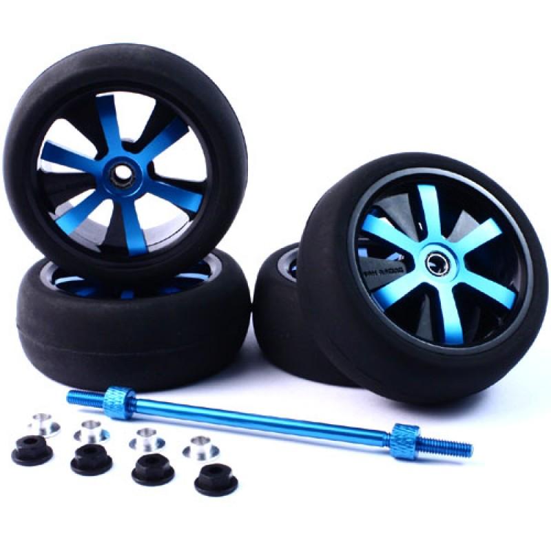 Aluminum Stylish Spinning Rims (4pcs) BU 6-Spoke Tire Set w/Free Tire Holder for 1:10 Touring Cars