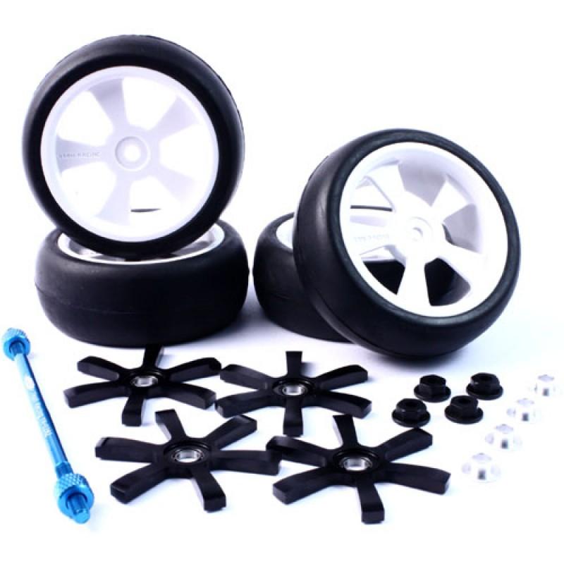 Aluminum Stylish Spinning Rims (4pcs) BK 6-Spoke Tire Set w/Free Tire Holder for 1:10 Touring Cars