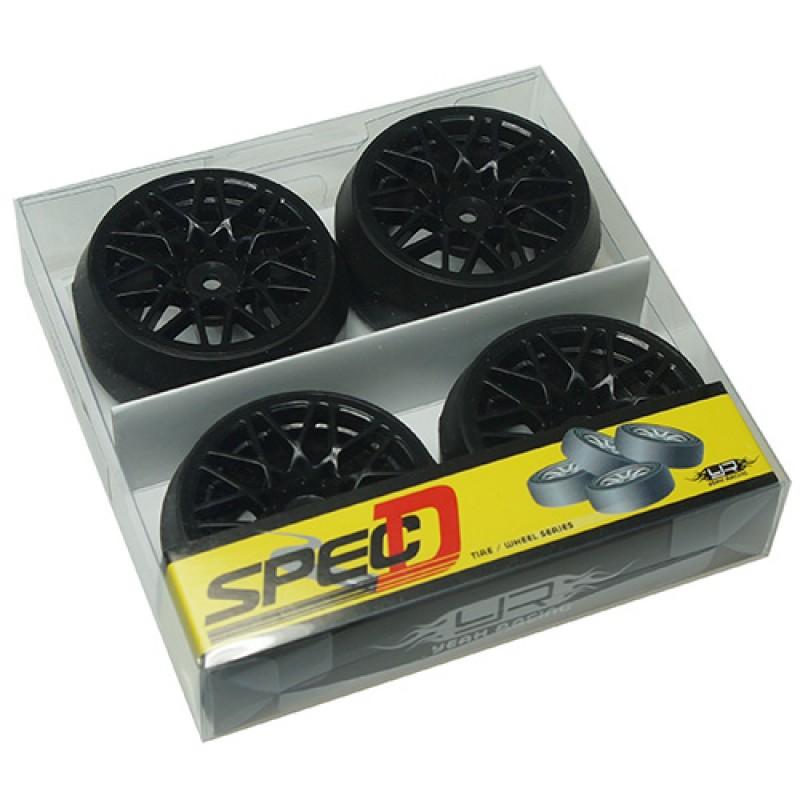 Spec D LS Wheel Offset +3 Black w/Tire 4pcs For 1/10 Drift