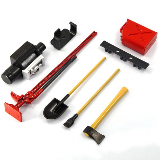 1/10 RC Rock Crawler Accessory Tool Set Axes Digging Shovel Oil Tank High Jack Winch Pry Bar (Red)