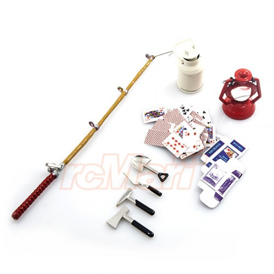 1/10 RC Crawler Camping Accessory Combo w/ Oil Lamp, Fishing Rod, Poker Card, Milk Can, Tools Set