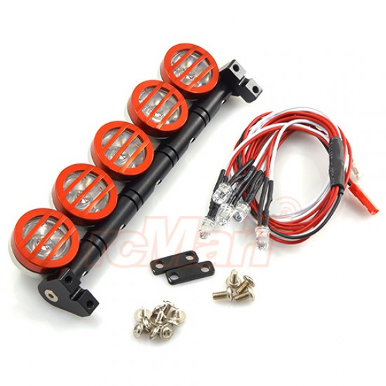 1/10 Aluminum Roof 5 White LED Light Set Red For RC Truck Crawler
