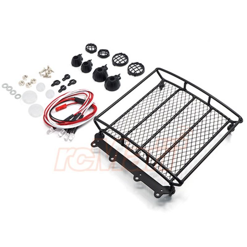 1/10 RC Rock Crawler Accessories Metal Mesh Wire Luggage Tray Type A w/ 4 White Light 12.5cmX11.5cmX3cm