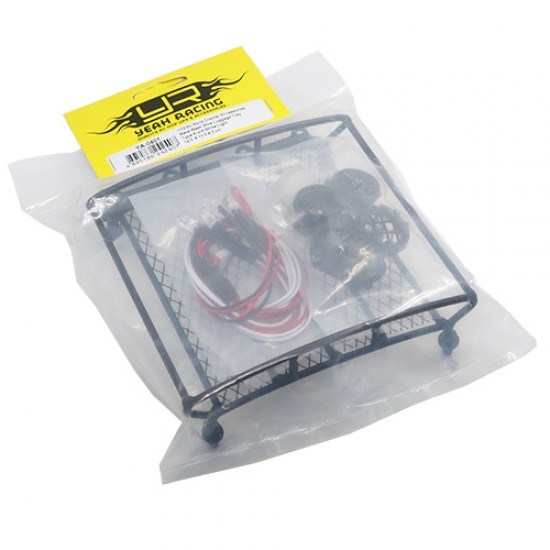 1/10 RC Rock Crawler Accessories Metal Mesh Wire Luggage Tray Type A w/ 4 White Light 12.5cmX11.5cmX3cm