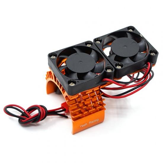 Aluminum 540 Motor Heat Sink w/ Cooling Twin Fans Orange