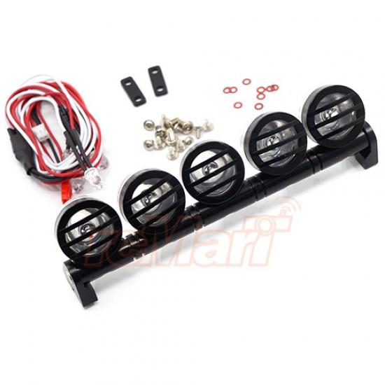 1/10 Aluminum Roof 5 White LED Light Set Black For RC Truck Crawler