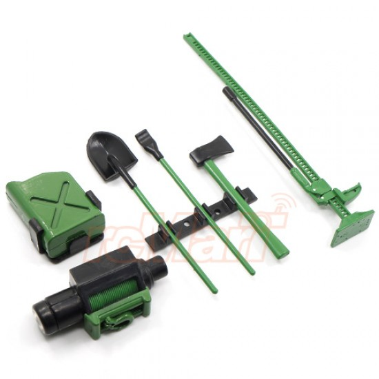1/10 RC Crawler Scale Accessory Tool Set Axes Digging Shovel Oil Tank High Jack Winch Pry Bar Green