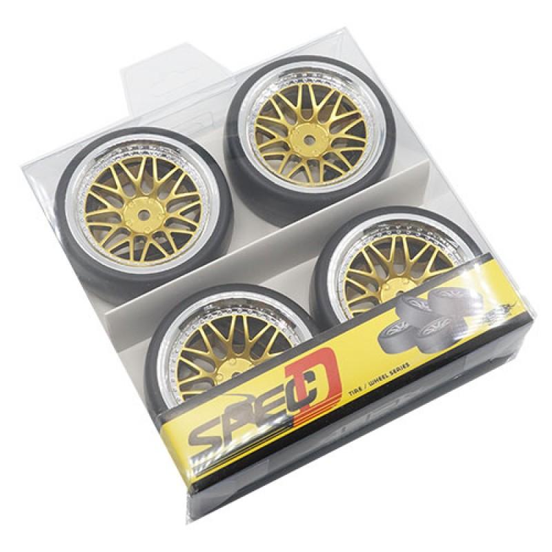 Spec D LS Wheel Offset +6 Gold Silver w/Tire 4pcs For 1/10 Drift