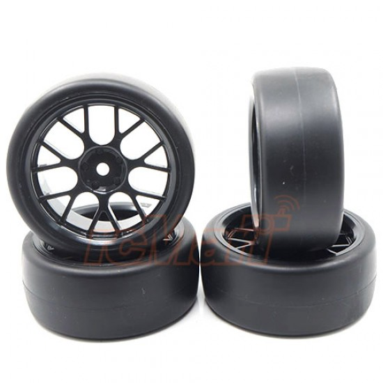 Spec D CS Wheel Offset +3 Black w/Tire 4pcs For 1/10 Drift