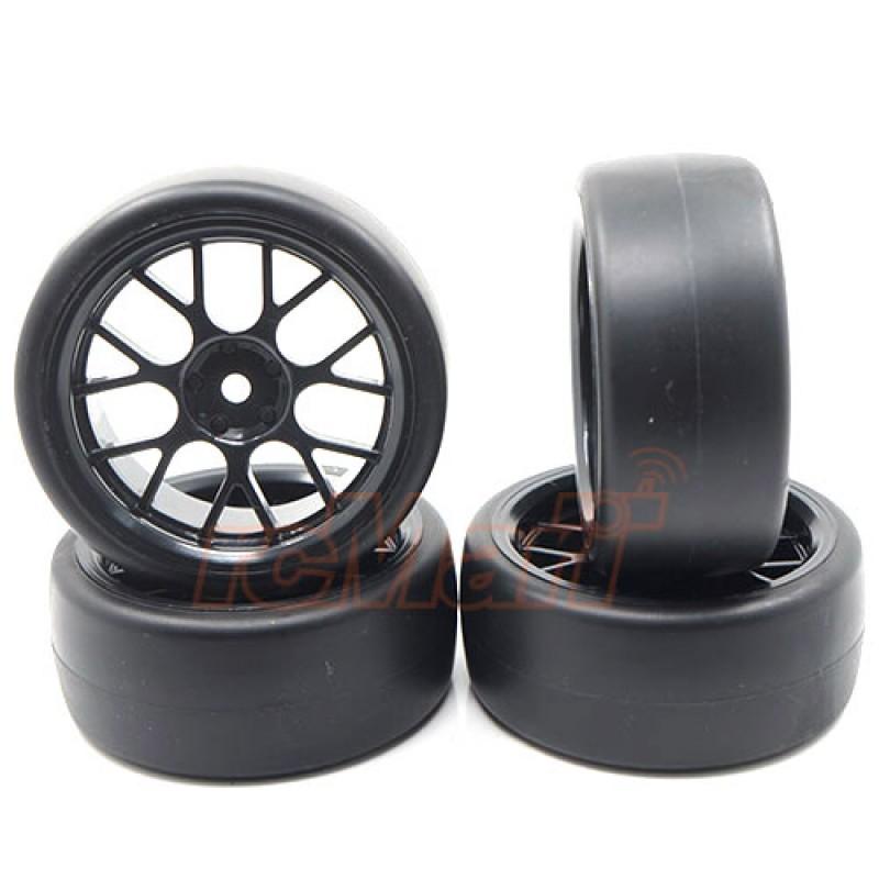 Spec D CS Wheel Offset +3 Black w/Tire 4pcs For 1/10 Drift