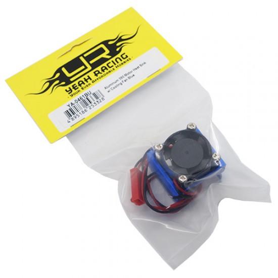 Aluminum 380 Motor Heat Sink w/ Cooling Fan Blue