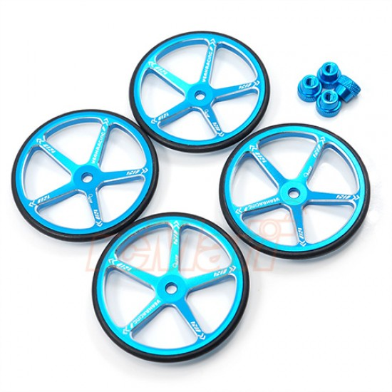 Aluminum Set Up Wheels For 1:10 M Chassis Blue