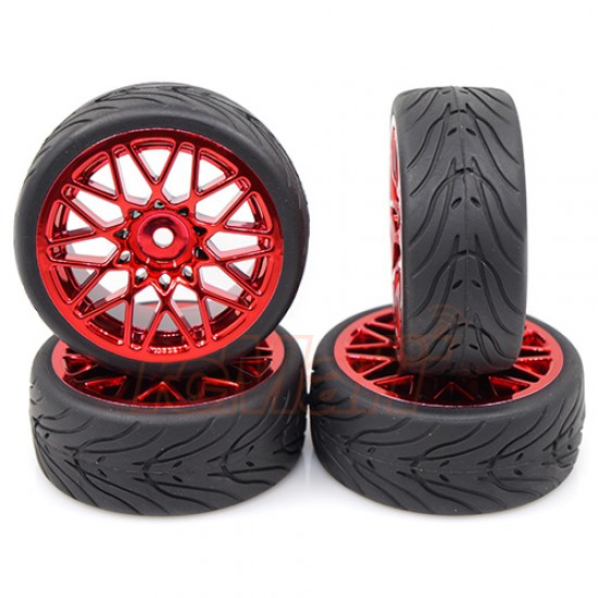 Spec T LS Wheel Offset 3 Red w/Tire 4pcs For 1/10 Touring