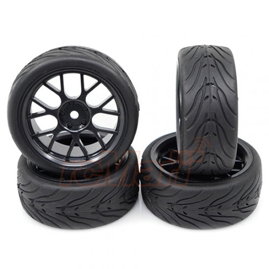 Spec T CS Wheel Offset 3 Black w/Tire 4pcs For 1/10 Touring