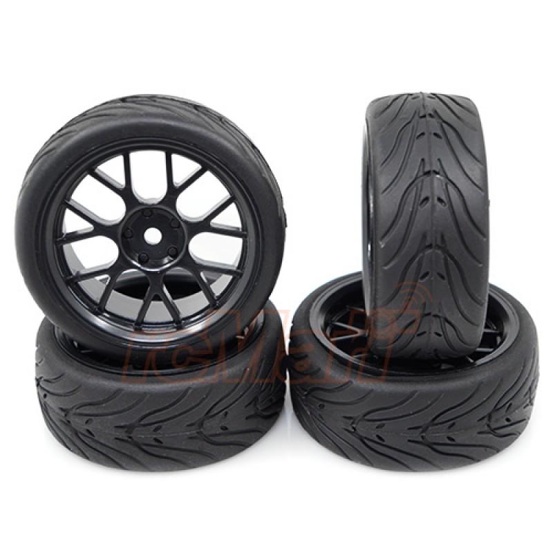 Spec T CS Wheel Offset 3 Black w/Tire 4pcs For 1/10 Touring