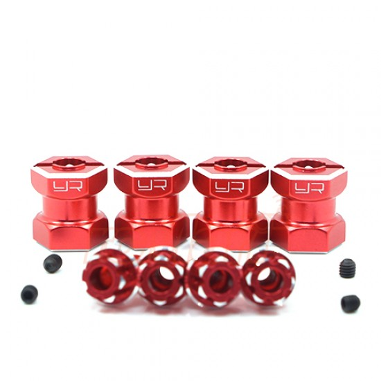 Aluminum Hex Adaptor 15mm Offset For 12mm Hex Wheels Red 4pcs