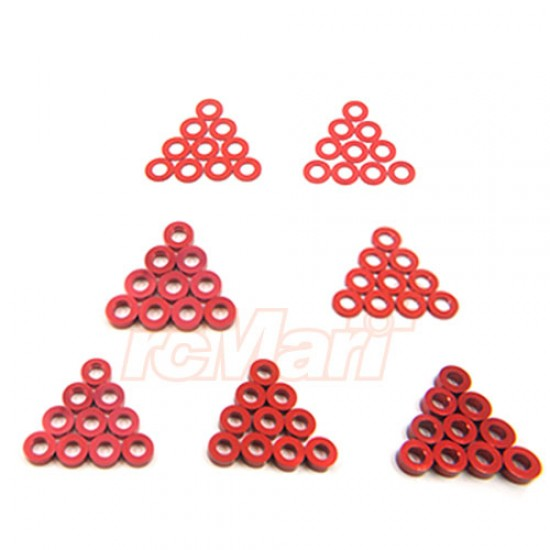 Aluminum M3 Flat Washer 0.25 / 0.5 / 1 / 1.5 / 2 / 2.5 / 3mm 10pcs Set Red
