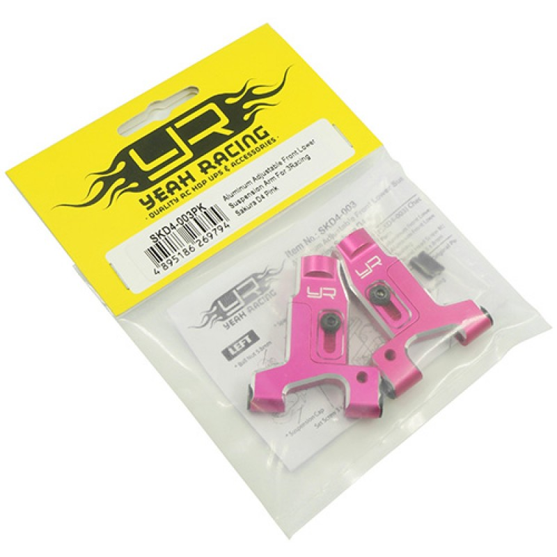 Aluminum Adjustable Front Lower Suspension Arm For 3Racing Sakura D4 Pink