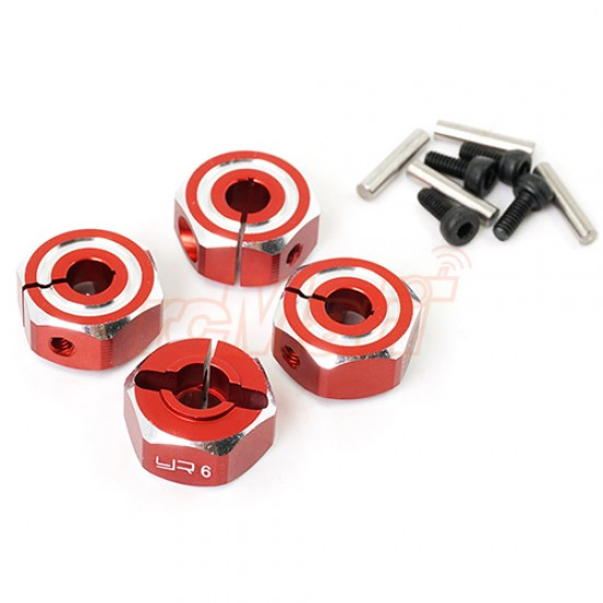Aluminum Hex Adaptor Set 12x6mm For 1/10 RC Touring Drift Crawler Red