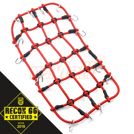 1/10 RC Crawler Scale Accessory Luggage Net 200mm x 110mm Red 'G6 Certified'