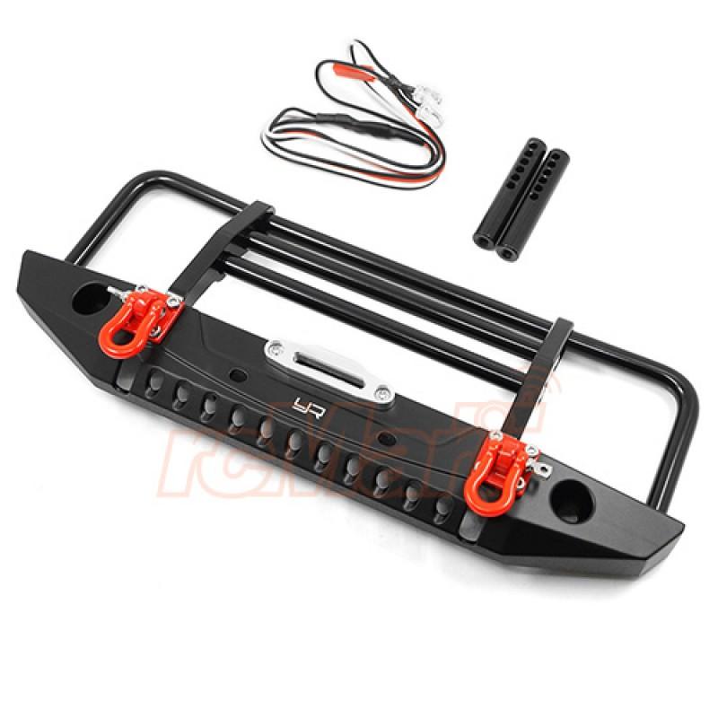 Aluminum Alloy Front Bumper w/LED Light For TRX-4/ SCX10 / II / HPI Venture / Gmade Bom GS02F