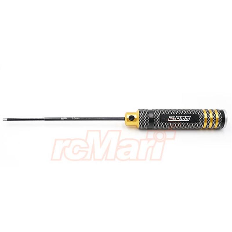 Aluminum 2.0mm Allen Hex Driver Tool Black Gold