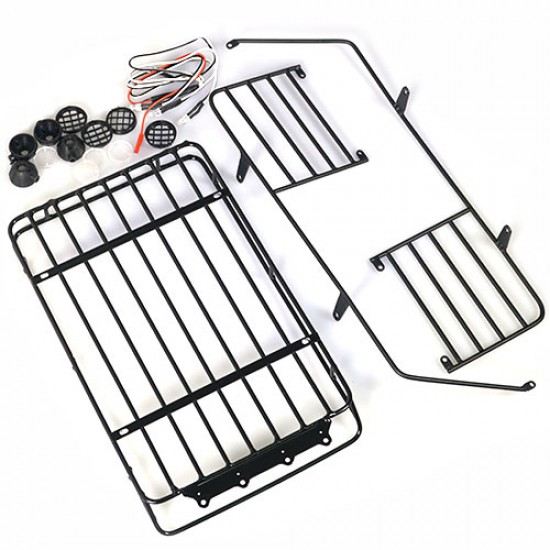 Metal Roll Cage w /Luggage Tray & White Led Light For Jeep Wrangler Body