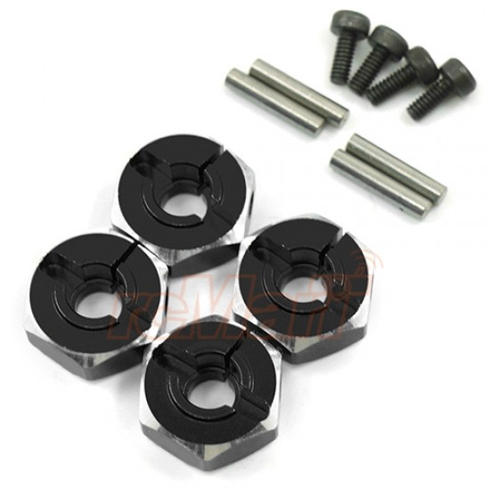 Aluminum Hex Adaptor Set 12x5.5mm For 1/10 RC Touring Drift Crawler Black