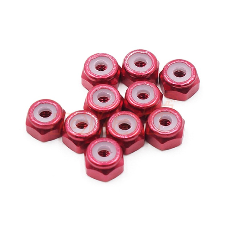 2mm Aluminium Lock Nut Red