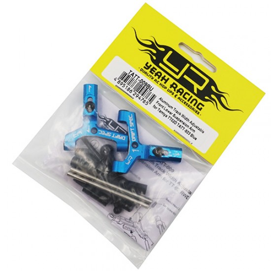 Aluminum Track Width Adjustable Front Lower Suspension Arm for TATT-S03 (Tamiya TT02 RWD) Blue