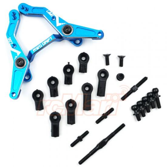 Aluminum RWD Large Angle Steering Rack for TATT-S03 (Tamiya TT02 RWD) Blue