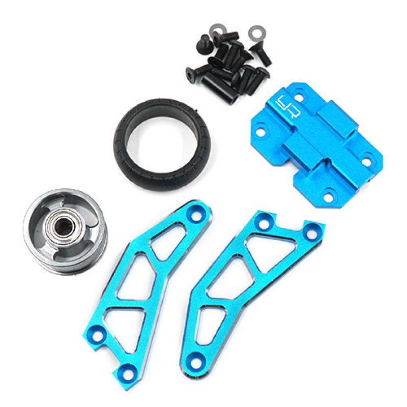 Adjustable Aluminum Wheelie Bar for WR02 GF01 Blue