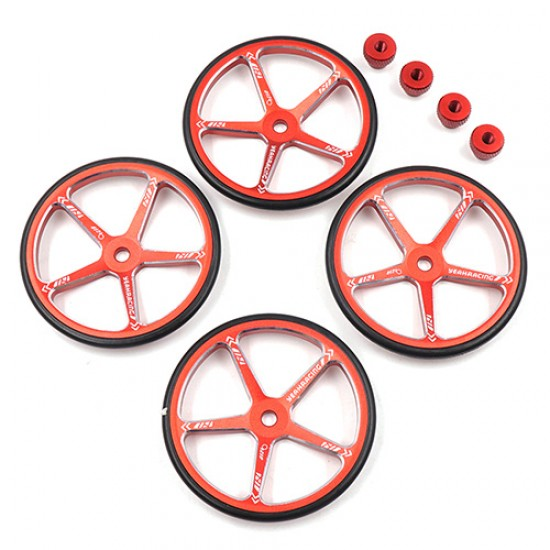 Aluminum Set Up Wheels For 1:10 M Chassis Red