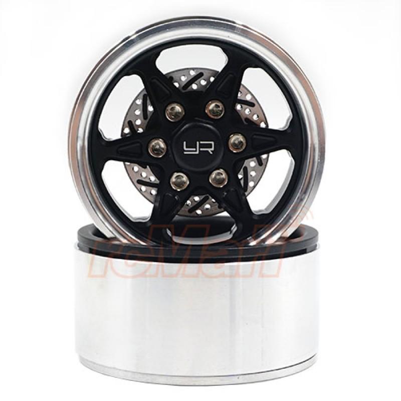 1.9 Aluminum CNC BXC 6 Spoke Beadlock Wheel w/ Brake Rotor 2pcs Black