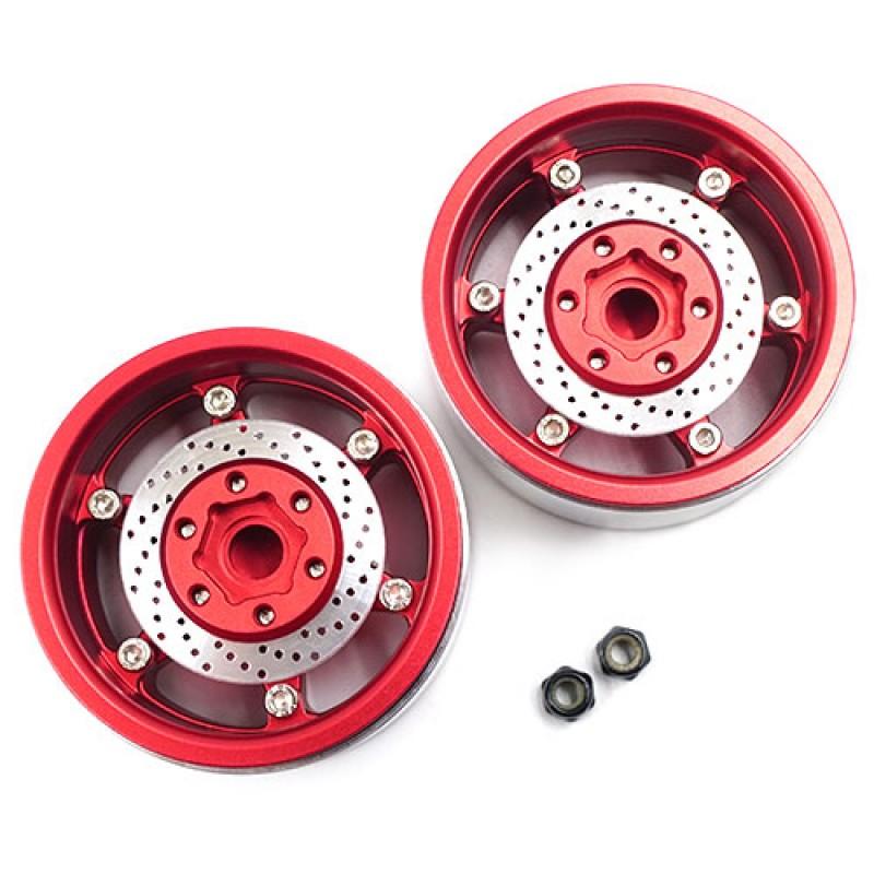 1.9 Aluminum CNC BXN 6 Spoke Beadlock Wheel w/ Brake Rotor 2pcs Red