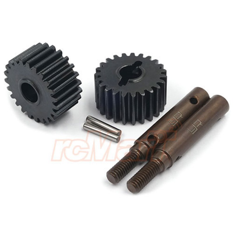 23T HD Tool Steel Shaft & Steel Portal Drive Output Spindle Gear 2pcs For Traxxas TRX-4 TRX-6