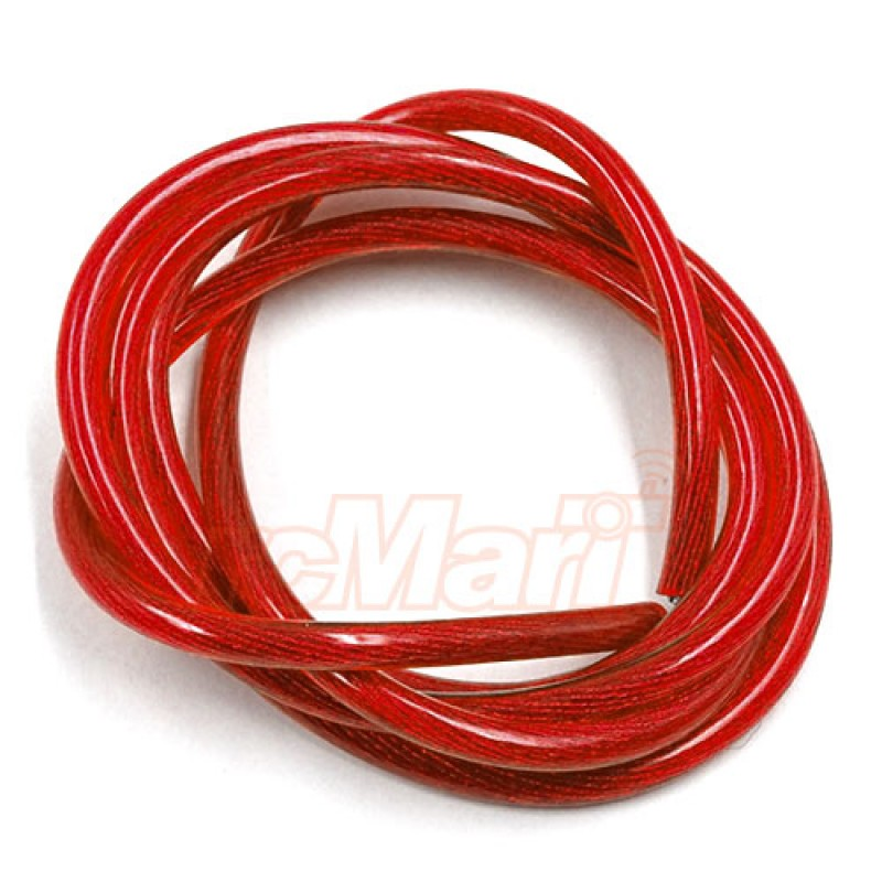 12AWG Transparent Wire 1m Red