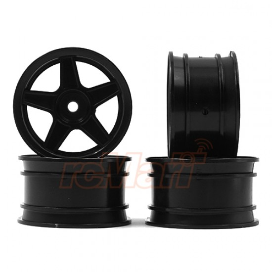 1/10 5 Spoke Mini Rims Black 4pcs