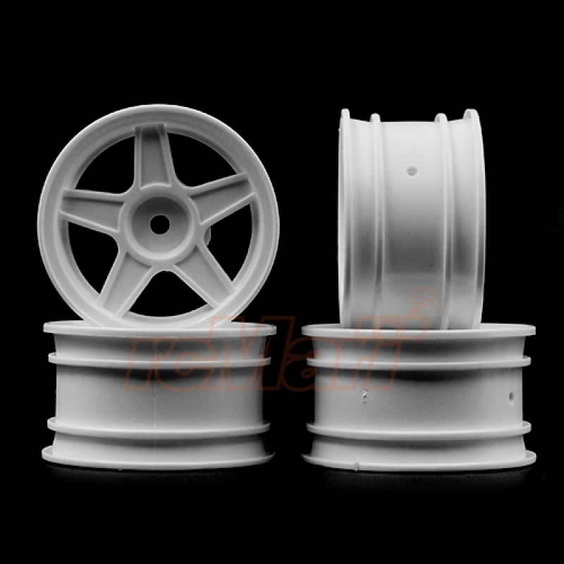 1/10 5 Spoke Mini Rims White 4pcs