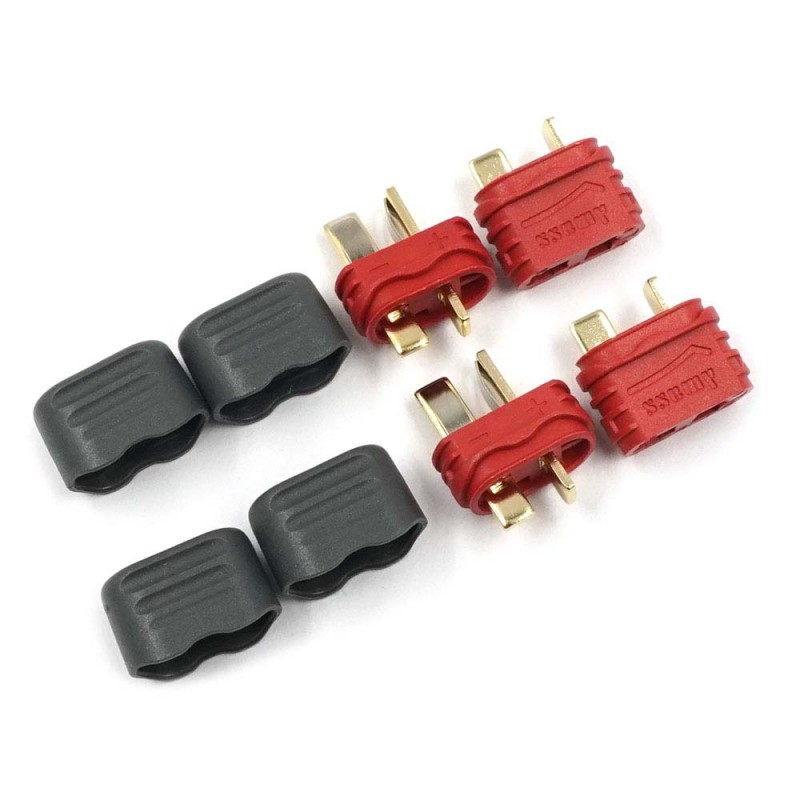 T Plug Deans Male & Female Connectors with Insulating Caps 2 Sets