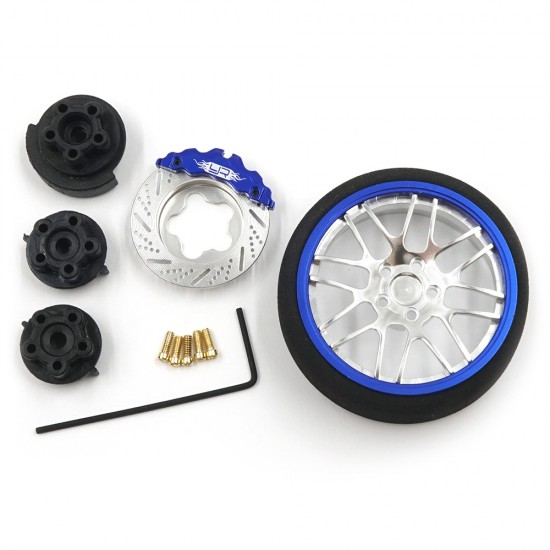 Aluminum Transmitter Steering Wheel Set Blue Type B For Futaba KO Sanwa Flysky NB4