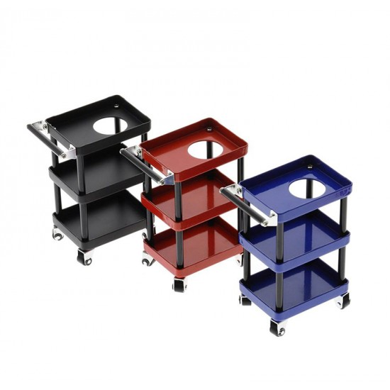 1/10 RC Accessory 3-Tiered Rolling Metal Handy Cart Red