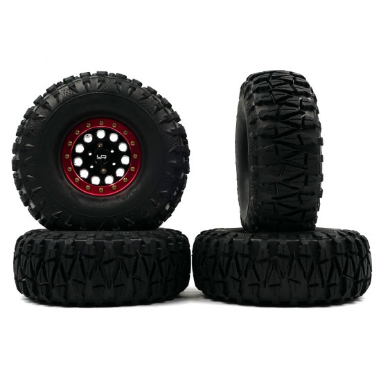 1.9 Aluminum CNC F-RG Beadlock Wheels For 1/10 Crawler 4pcs Red