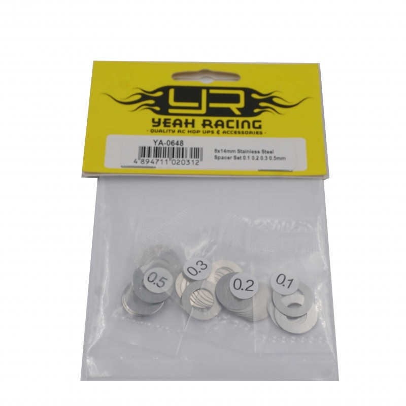 8x14mm Stainless Steel Spacer Set 0.1 0.2 0.3 0.5mm