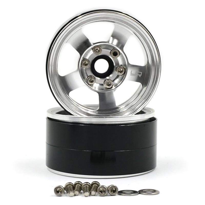 1.9 Aluminum CNC 5 Spoke Beadlock Wheel 2pcs Silver